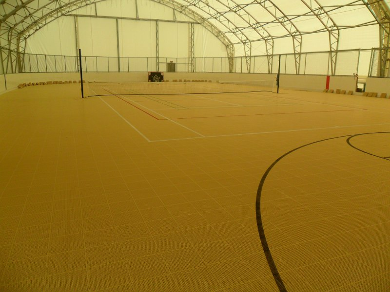 Devon Energy, Jackfish 1 and 2 locations, Conklin Alberta, full size Sport Court indoor arena rink for their employees at Jackfish 1 and 2 locations. Both arenas are identical. Size of arena is 144' x 72'.