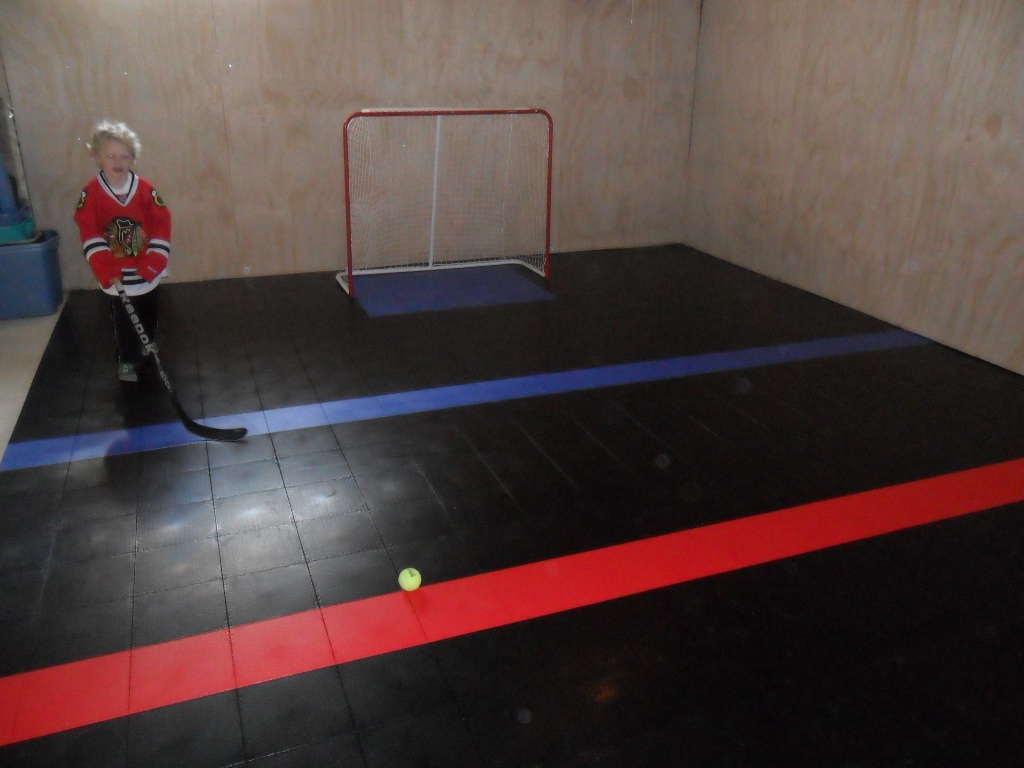 Basement hockey rink with a Sport Court floor.